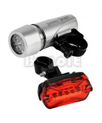 Kit de luces Led para bicicletas con luz delantera de 5 Led + luz trasera.