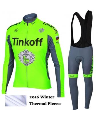 Ropa de Ciclismo Termica Tinkoff Saxo Bank Fluo Green 2018 Con Tirante